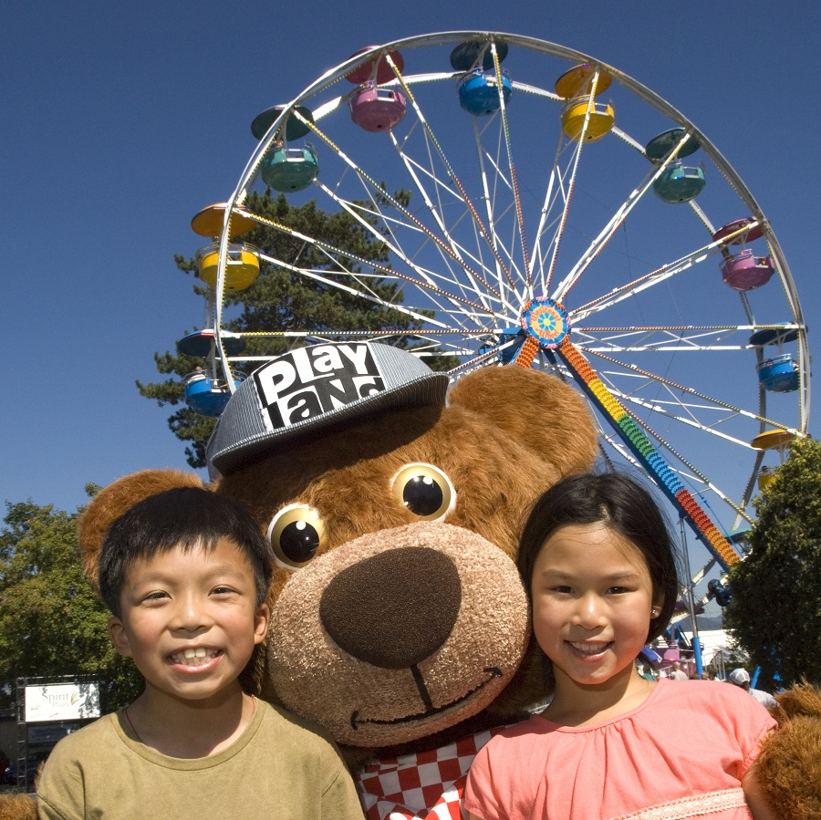 KC Bear and kids at Playland, Vancouver, BC