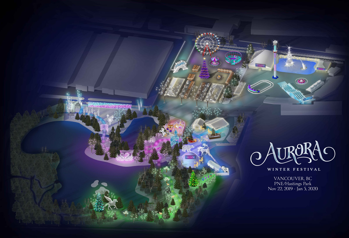Aurora Winter Festival at the PNE/Hastings Park - site map rendering